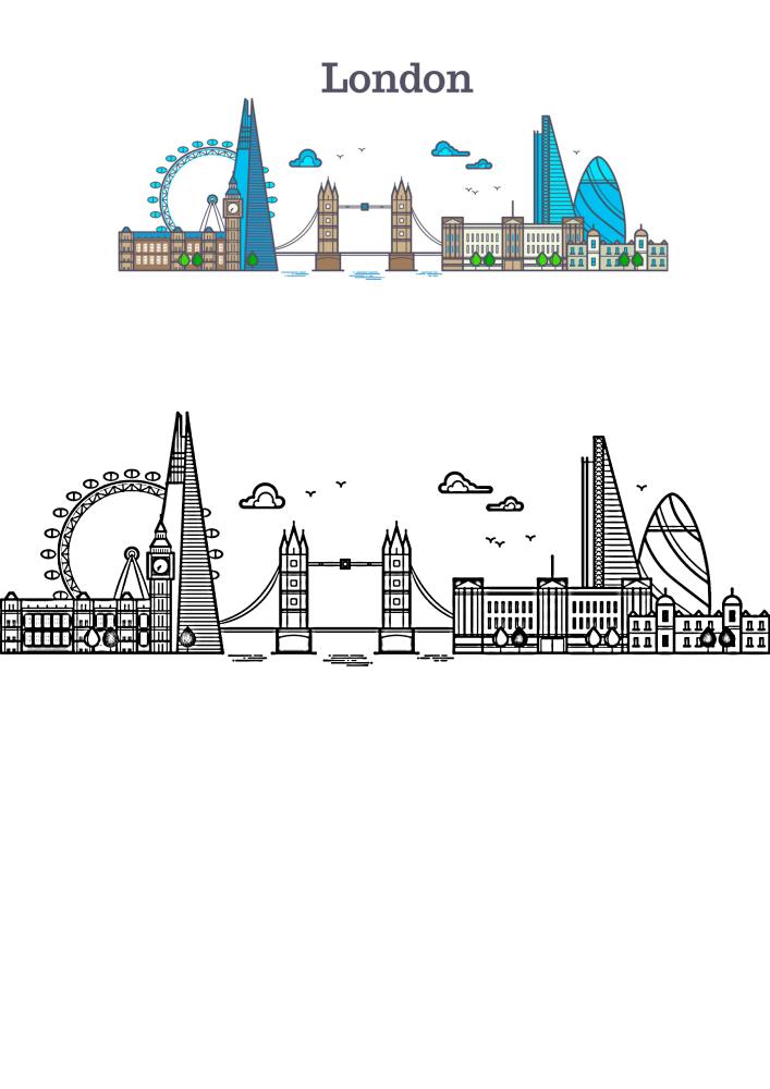 Лондон - раскраска с образцом разукрашивания