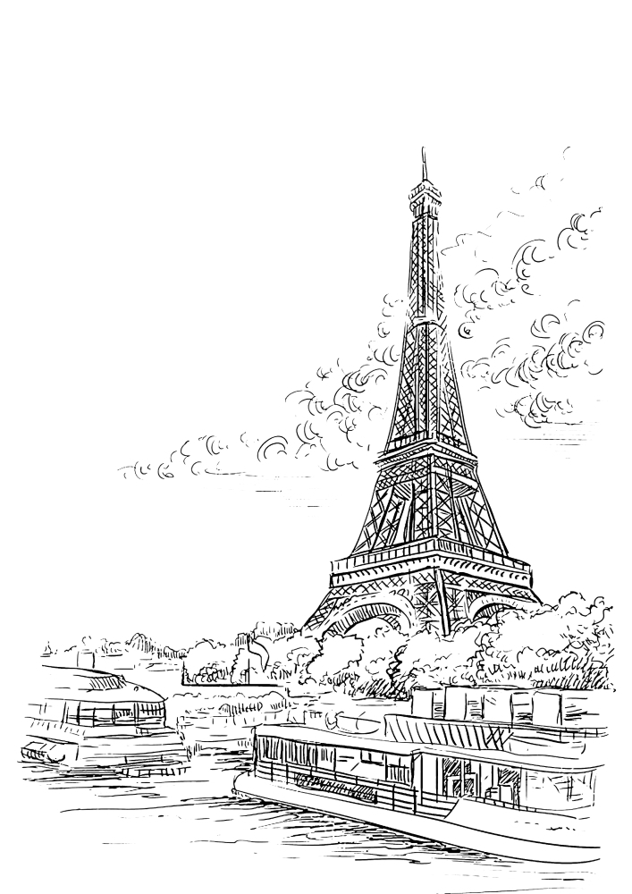 Эйфелева башня - раскраска
