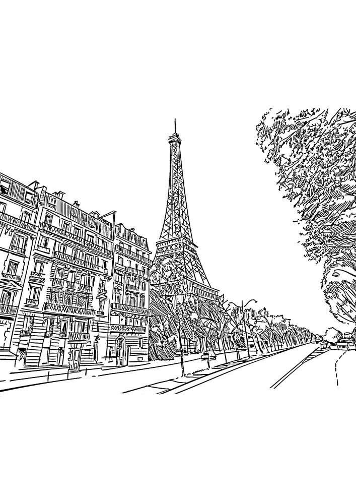 Вид на Эйфелеву башню с улицы
