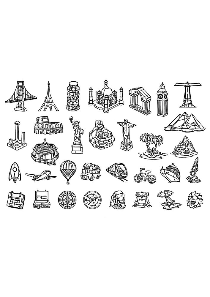 Значки известных объектов с разных уголков планеты