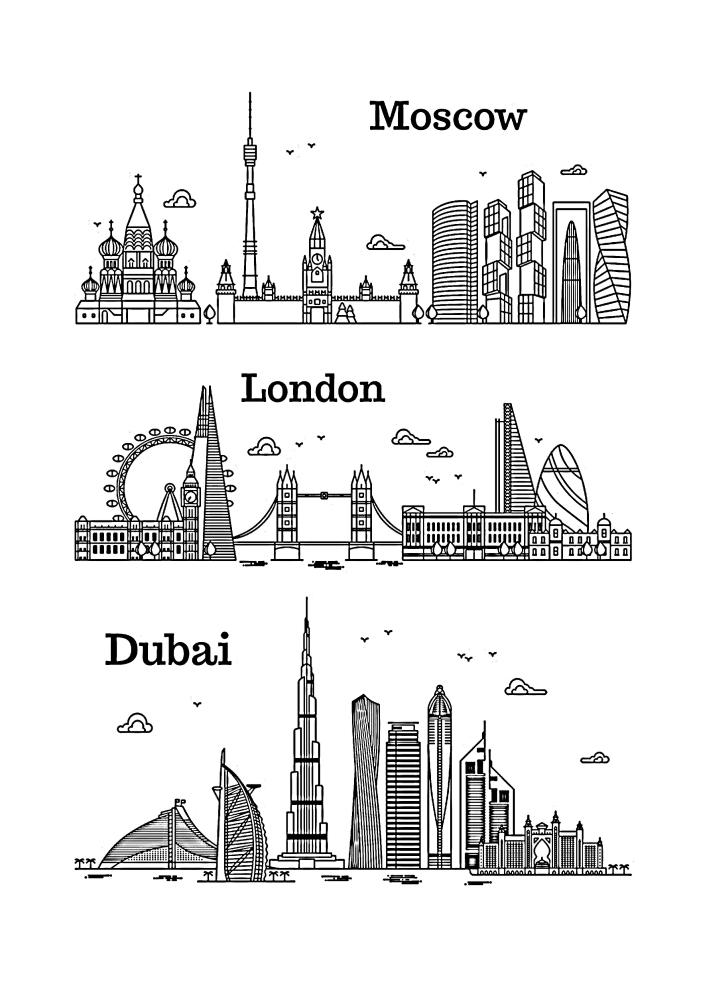 Лондон, Москва и Дубай - раскраска