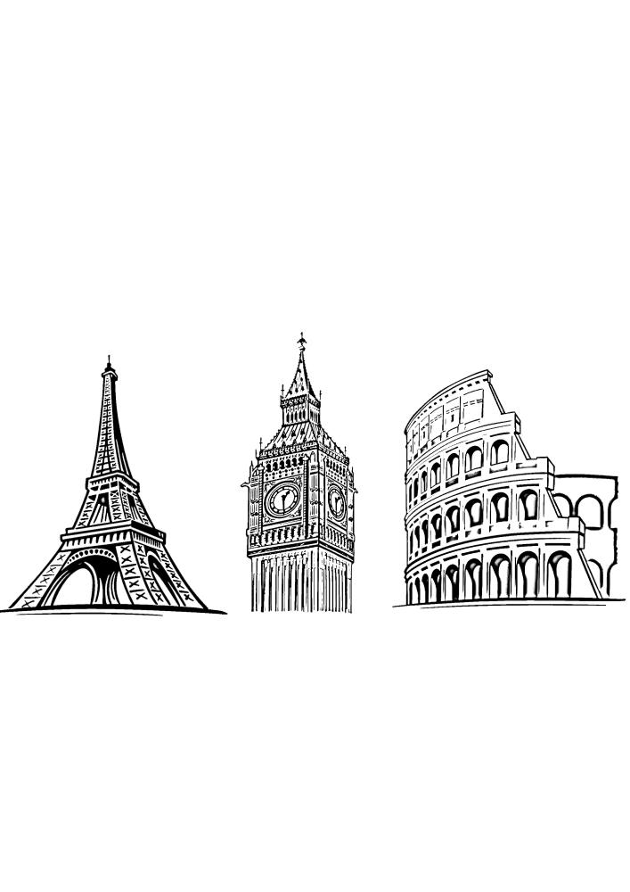 Колизей, Эйфелева башня и Биг-Бен