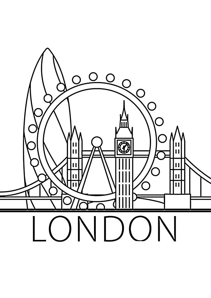 Лондон - столица Великобритании - раскраска для детей