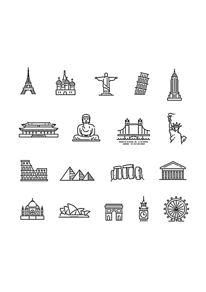 Иконки достопримечательностей разных мест на планете