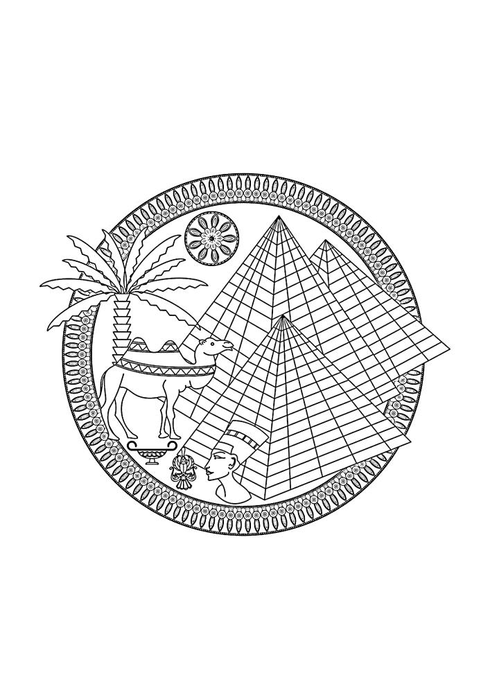 Египетские объекты - раскраска