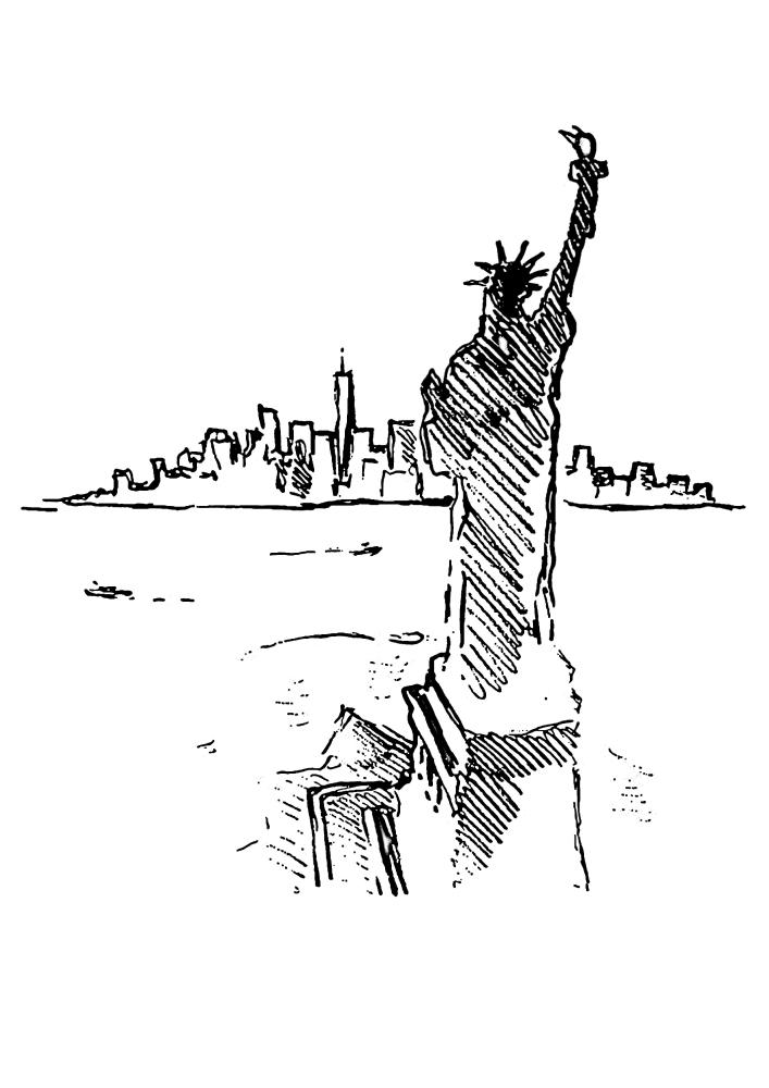 Статуя свободы и вид на Манхэттен