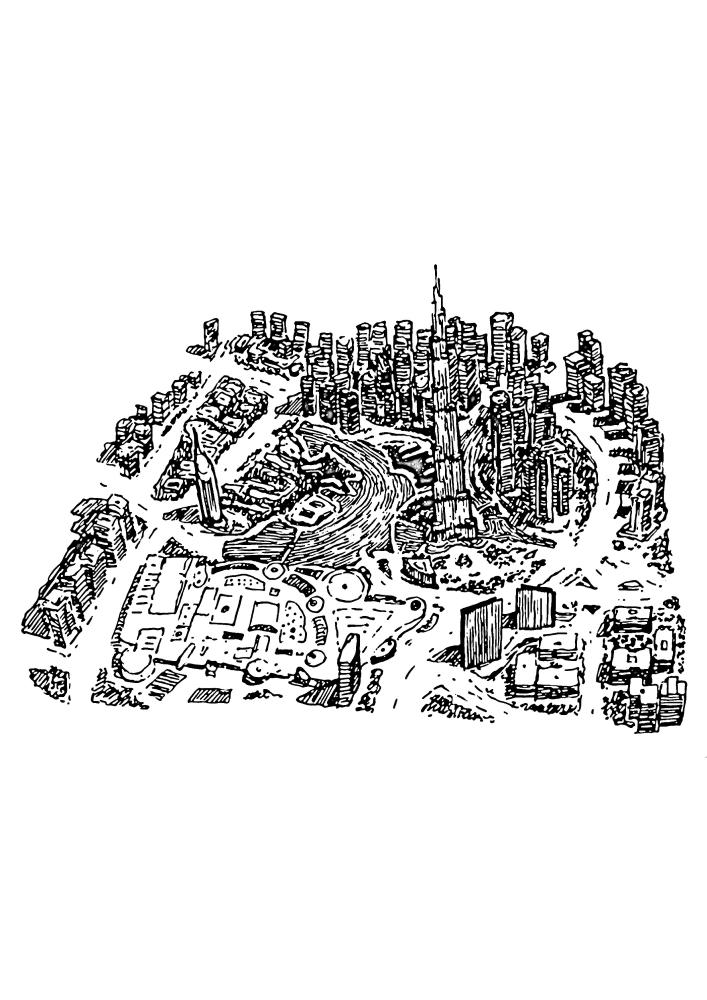 Вид на Дубай с высоты птичьего полёта