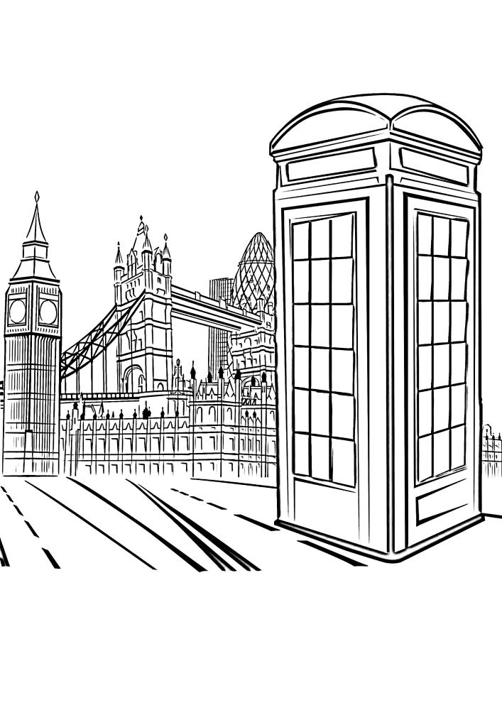 Телефонная будка, а на фоне Лондон