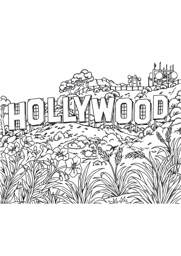 Голливуд - раскраска