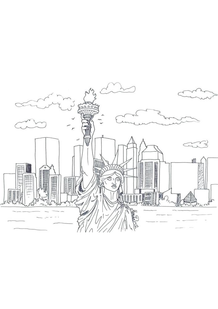 Манхэттен и статуя свободы