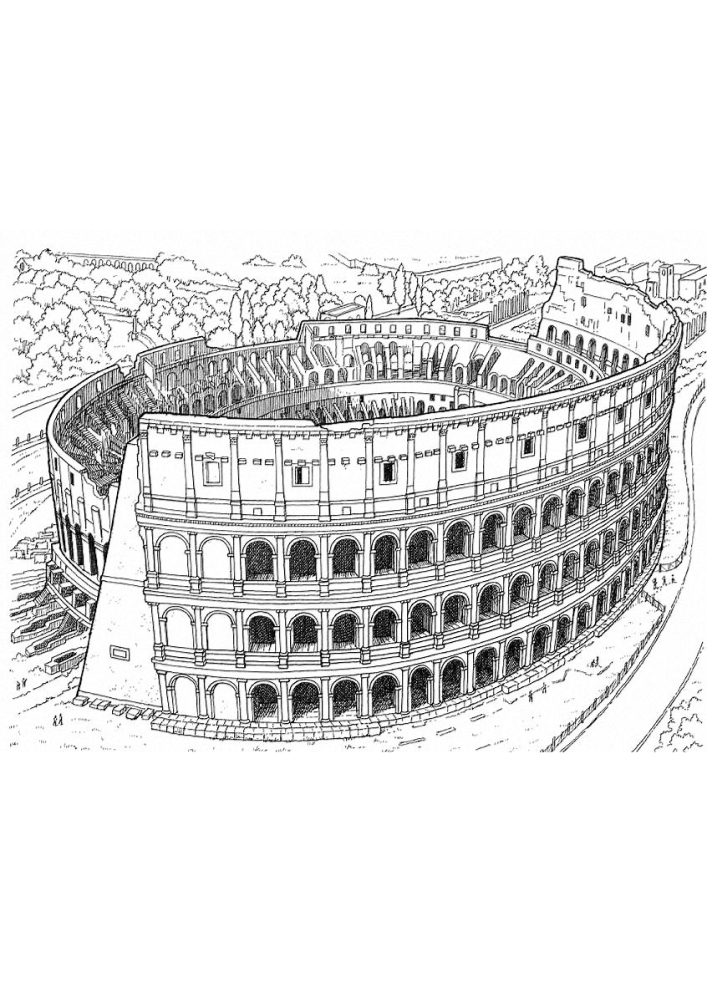Колизей - раскраска