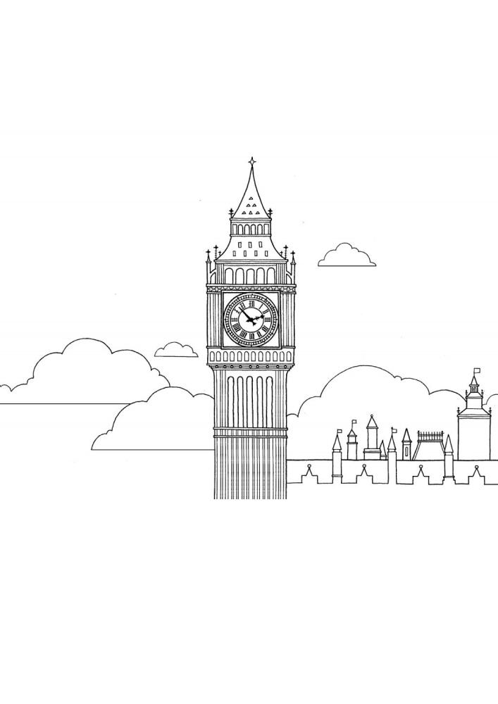 Биг-Бен - высокая башня с часами