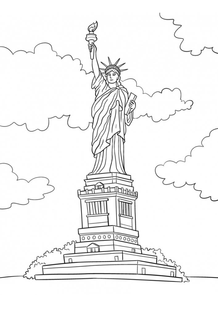 Статуя свободы - раскраска
