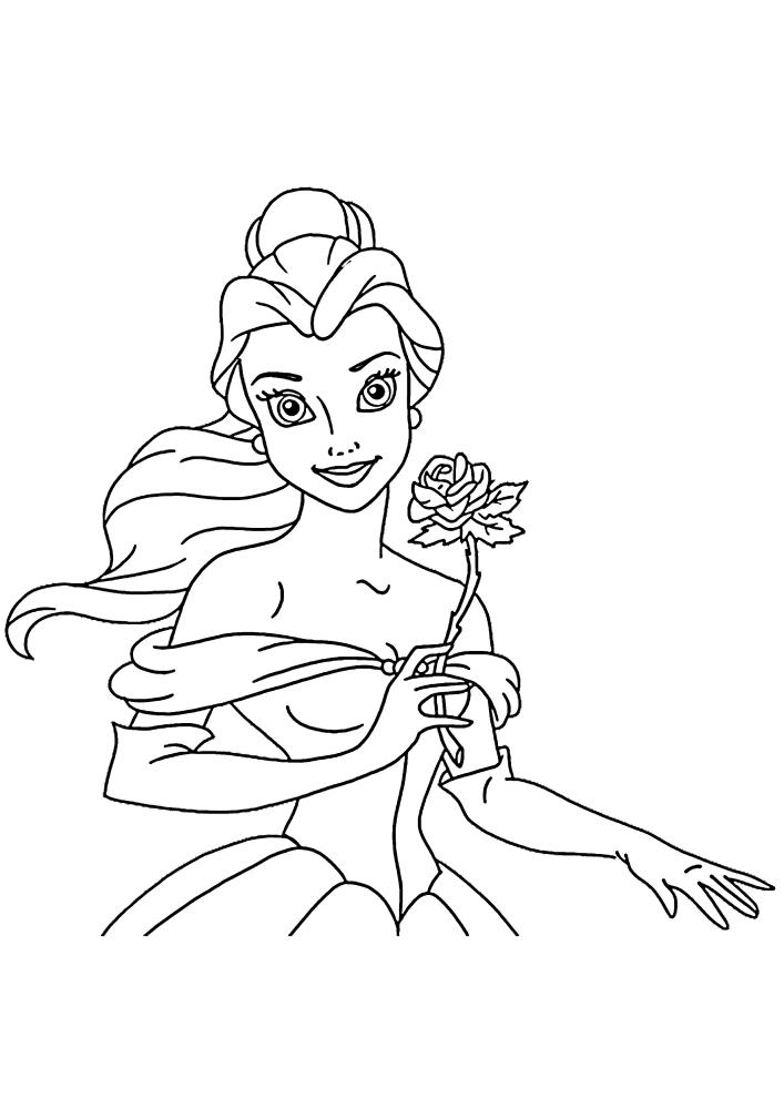 Принцесса держит красивую розу