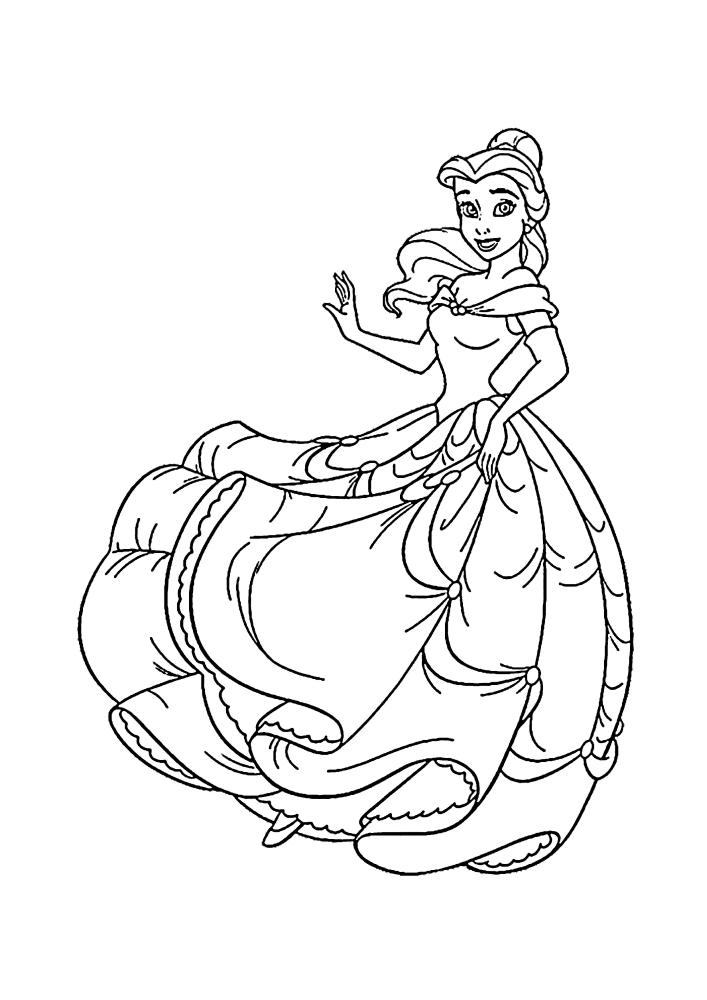 Белль танцует в новом платье