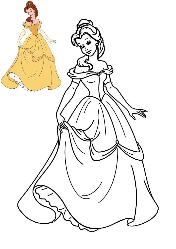 Белль в пышном платье - раскраска с образцом разукрашивания