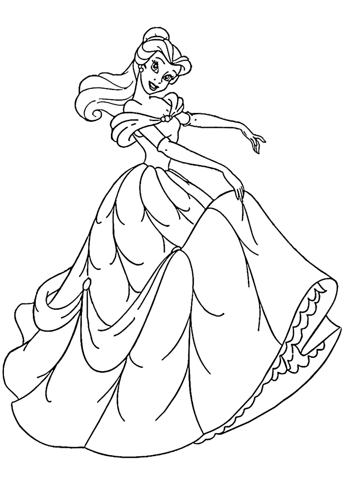 Раскраска принцессы Белль