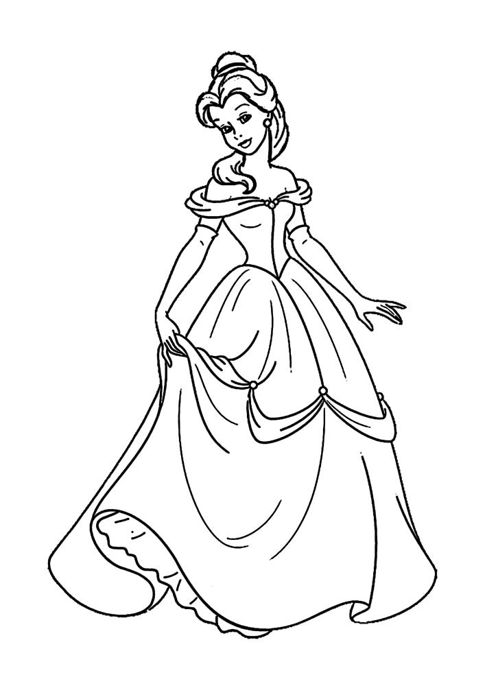 Белль придерживает своё пышное платье