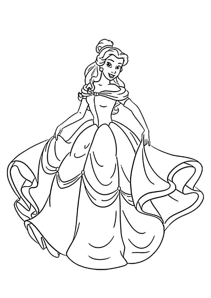 Белль в красивом платье - раскраска для девочек
