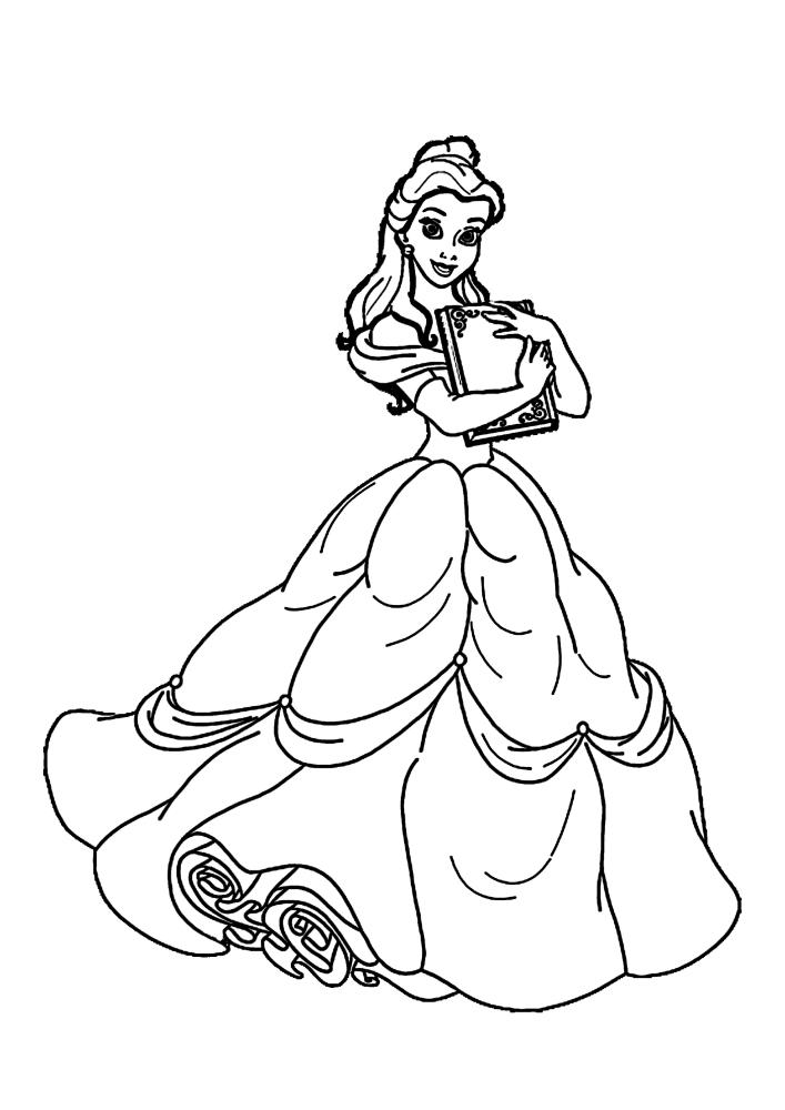 Милая принцесса Белль - раскраска для девочек