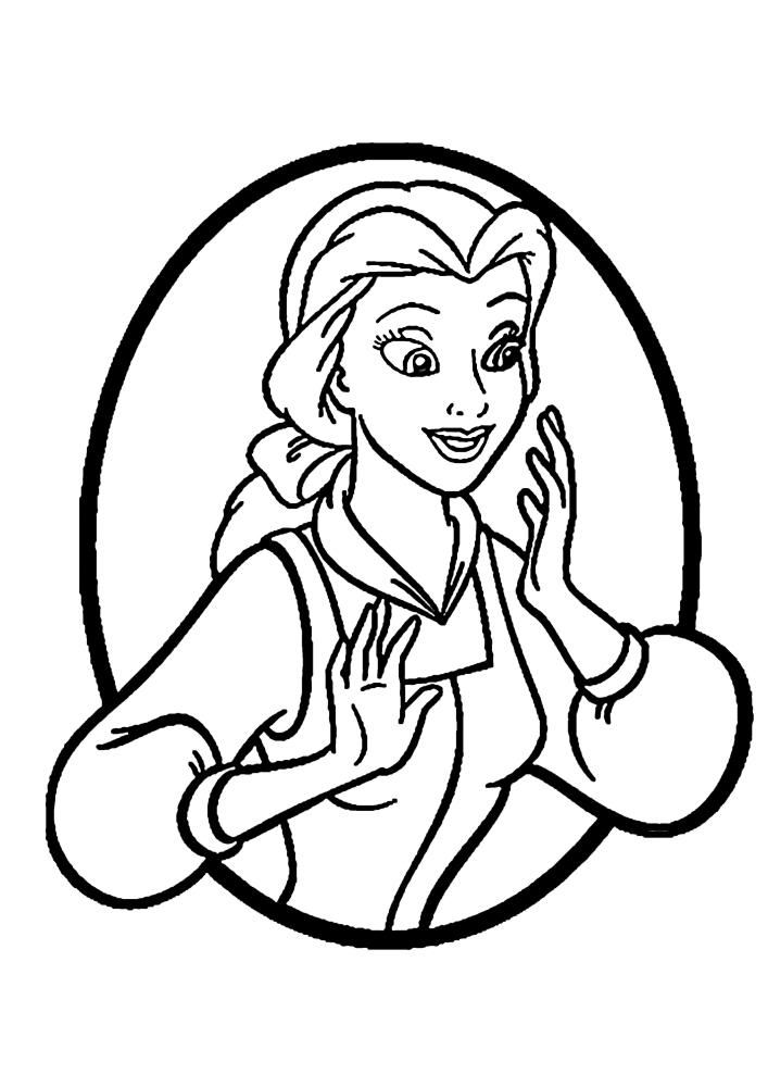 Белль - раскраска принцессы в кругу
