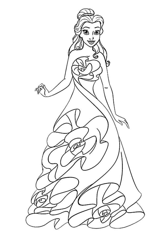 Белль в облегающем тело платье