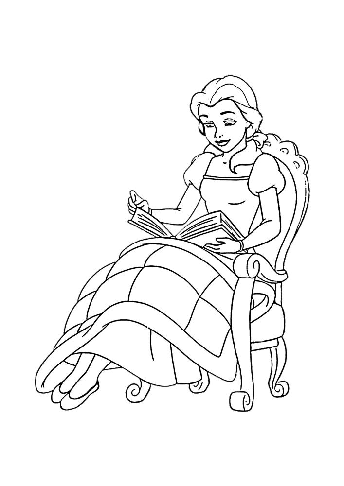 Белль в своём любимом кресле читает очередную книгу