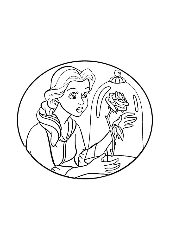Белль смотрит на розу в вакууме
