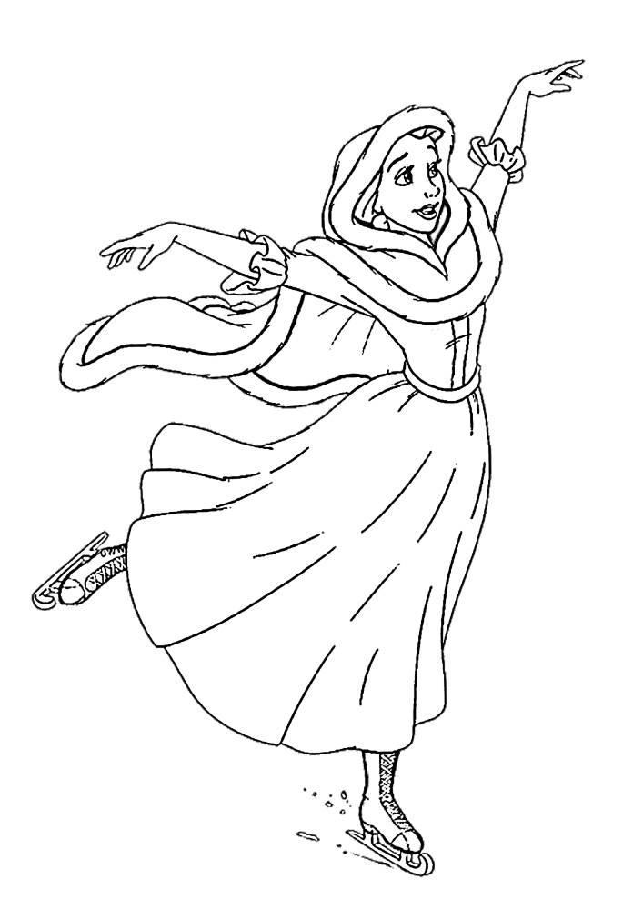 Белль катается на коньках - раскраска
