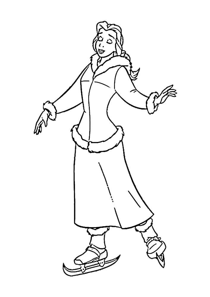 Белль стоит на коньках