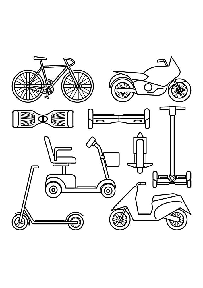 Различные средства передвижения, среди которых есть велосипед