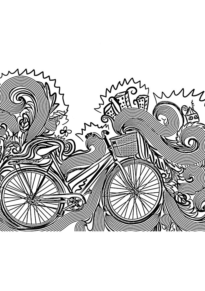 Расслабляющая раскраска велосипеда