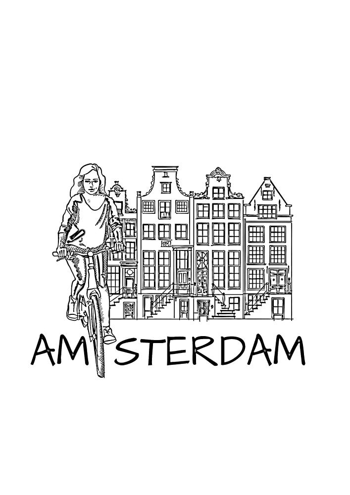 Девушка на велосипеде, а на фоне Амстердам