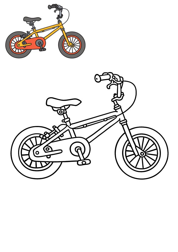 Велосипед - раскраска и цветной образец разукрашивания