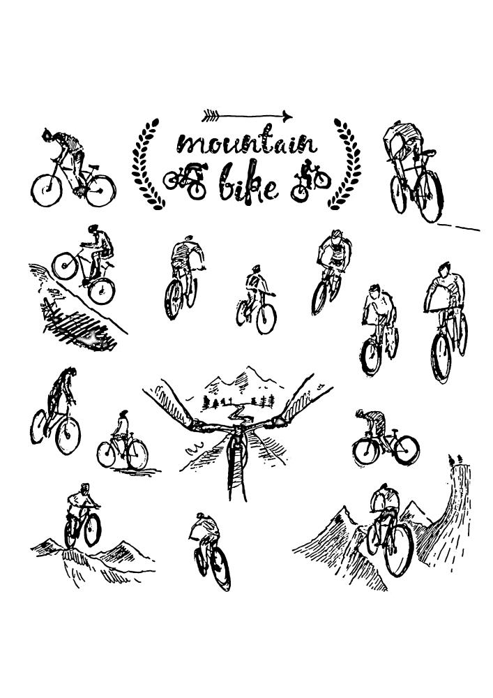 Разные изображения велосипедистов