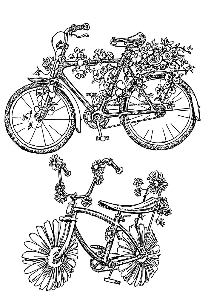 Расслабляющая раскраска велосипеда из цветов