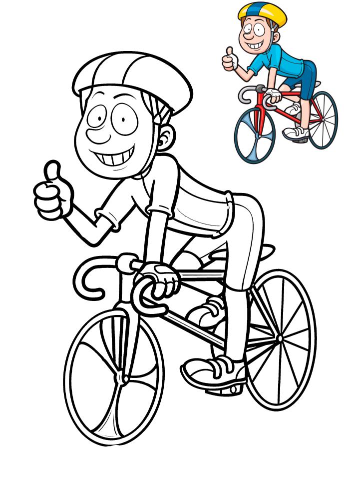 Мальчик на велосипеде - раскраска с  образцом разукрашивания