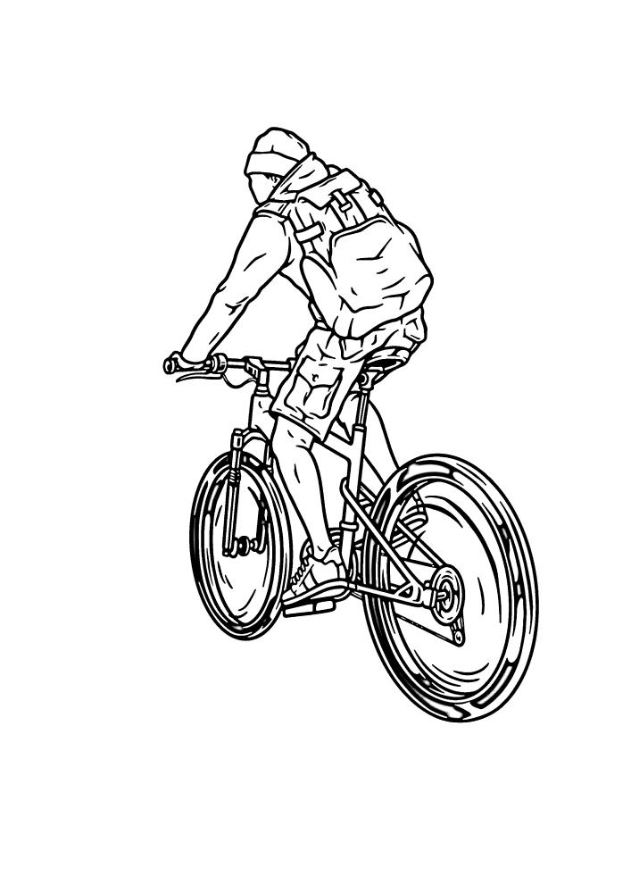 Путешествие на велосипеде - раскраска