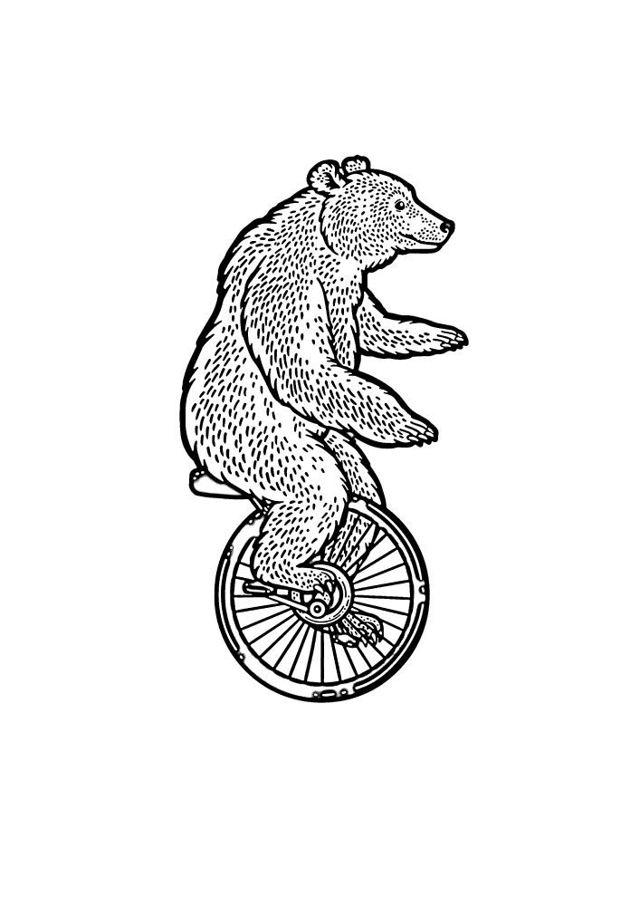 Медведь на одноколёсном велосипеде - раскраска