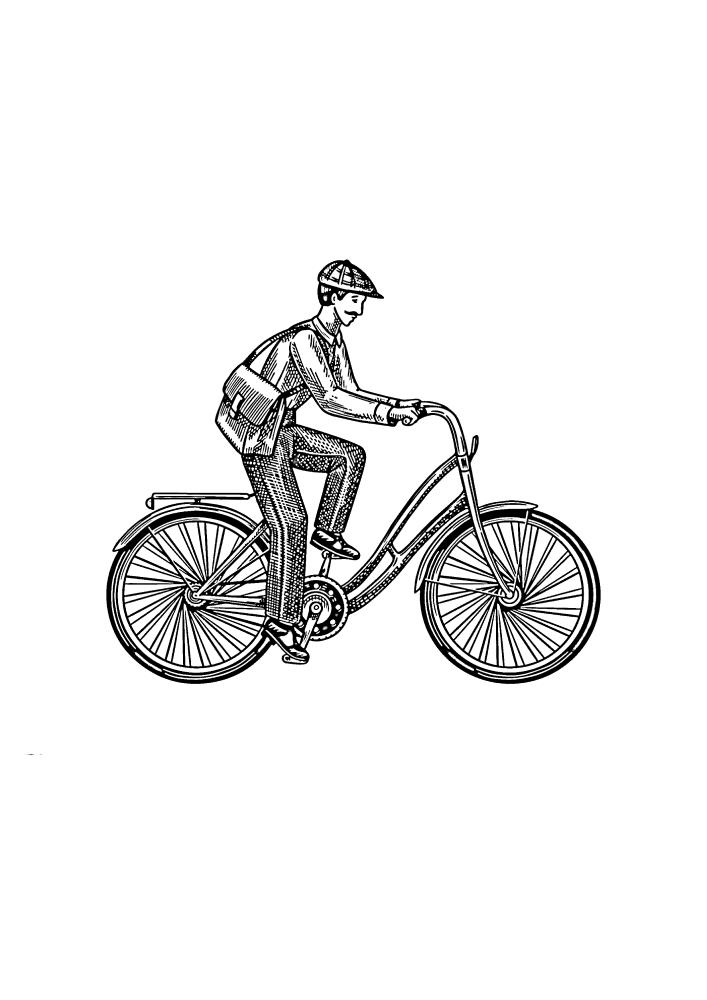 Почтальон на велосипеде - раскраска