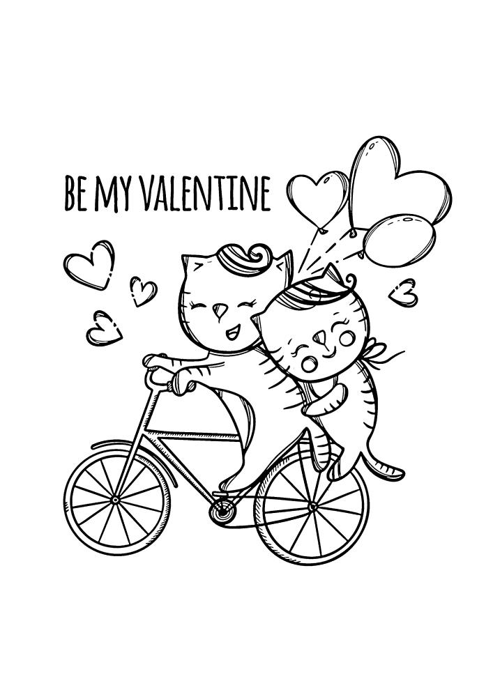 Влюблённые котики на велосипеде - милая раскраска