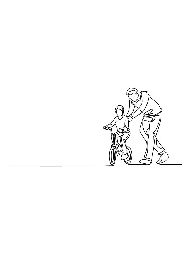 Отец учит сына езде на велосипеде