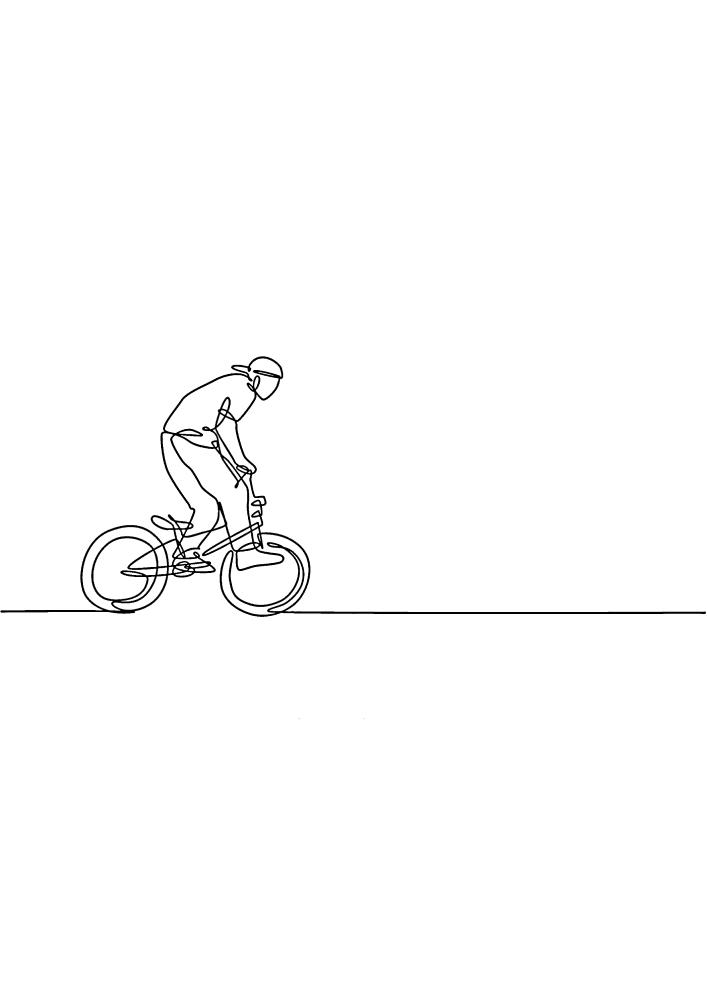 Раскраска велосипедиста для малышей
