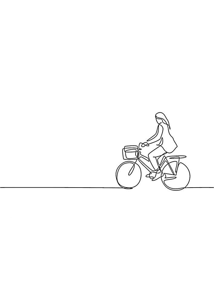 Девушка на велосипеде - раскраска для малышей