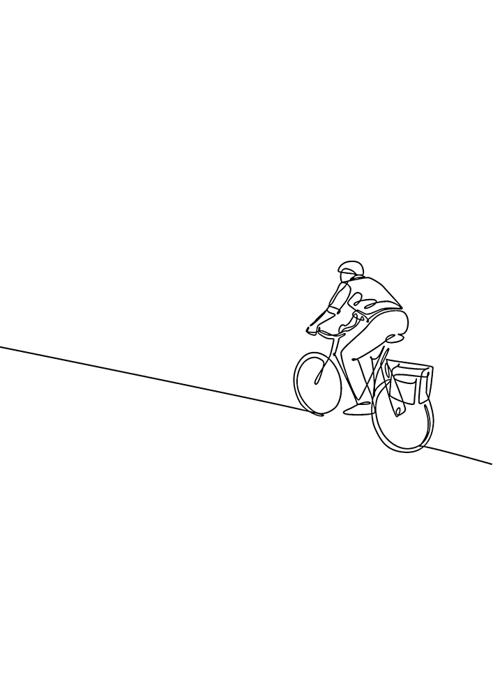 Лёгкая в разукрашивании раскраска велосипедиста