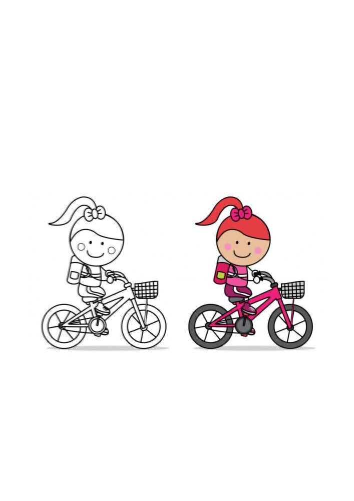 Девочка на велосипеде - раскраска с образцом разукрашивания