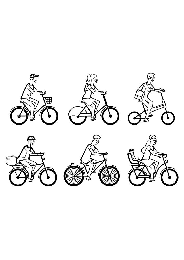 6 разных изображений велосипедистов в одной раскраске