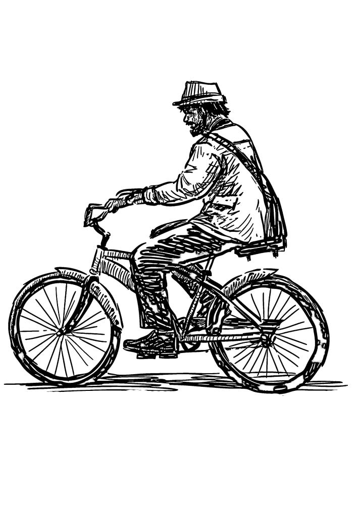 Чёрно-белое изображение мужчины на велосипеде