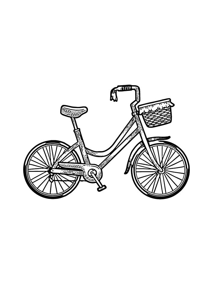 Велосипед с корзинкой - раскраска