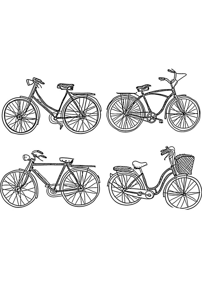 4 разных велосипеда.